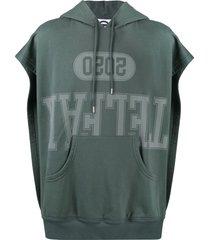 telfar open sides logo print hoodie - grey