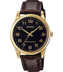 reloj casio mtp_v001gl_1b dorado cuero