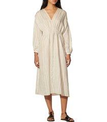 women's sandro rome stripe puff sleeve fit & flare dress, size 8 us - beige