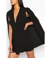 cape tie front mini dress, black