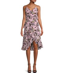 kenzo women's bird-print high-low silk dress - pastel pink - size 34 (2)