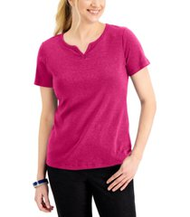 karen scott petite cotton split-neck top, created for macy's