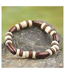 wood stretch bracelet, 'chocolate' (ghana)