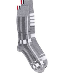 thom browne stripe print socks - grey