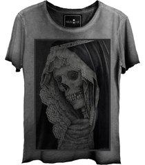 camiseta skull lab corte a fio cinza - kanui