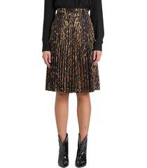 burberry pleated midi skirt with leopard print motif