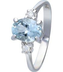 anello in oro bianco con pietra acquamarina 1,15 ct e diamanti 0,05 ct per donna