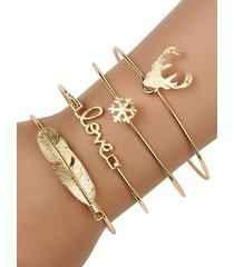 4pcs christmas elk snowflake feather bracelet set