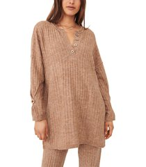 women's free people around the clock tunic sweater, size small - brown