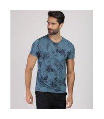 camiseta masculina slim estampada floral manga curta gola careca azul