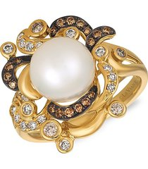 le vian women's 14k honey gold®, vanilla pearls®, chocolate & vanilla diamond® ring - size 7
