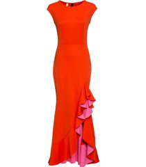 abito lungo con volant (arancione) - bodyflirt boutique