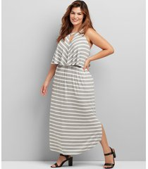 lane bryant women's cutout striped maxi dress 10/12p grey & white stripe