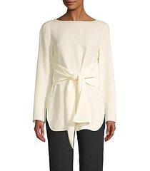 tie-sash silk blouse