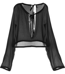 ann demeulemeester tie-neck chiffon blouse - black