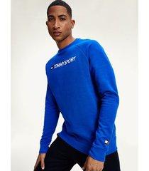 tommy hilfiger men's performance fleece logo sweatshirt cobalt - s