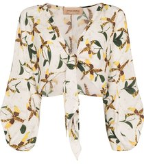 adriana degreas orchid-print tie-front top - white