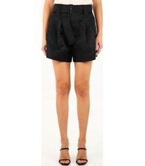 ganni black nylon shorts