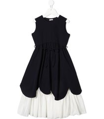 il gufo wide flared two-tone dress