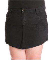 saia confidencial extra jeans barra desfiada plus size