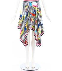 thom browne striped floral fish print handkerchief skirt blue/multicolor sz: m