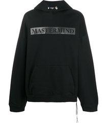 mastermind world embossed skull logo hoodie - black