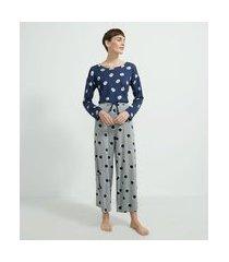 pijama longo em viscolycra estampa poá | lov | azul | g