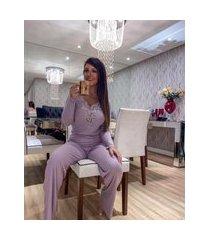 pijama longo com renda canelado viscomodal adulto manga longa e calca lilás