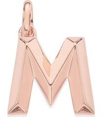 alphabet pendant m, rose gold vermeil on silver
