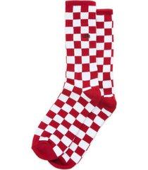calcetin algodón checkerboard crew ii rojo hombre vans