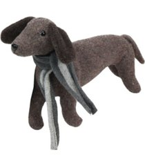 "northlight 7.5"" plush brown dachshund dog with scarf christmas decoration"