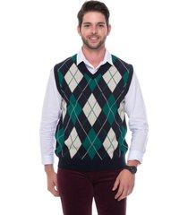 colete jacquard escocês passion tricot marinho