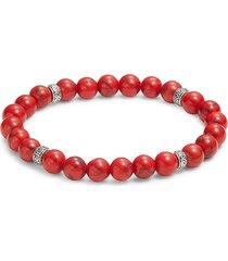saks fifth avenue men's sterling silver & red turquoise stretch bracelet