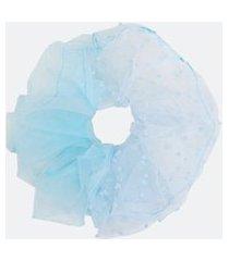 scrunchie com mix de voil e flocado   accessories   azul   u