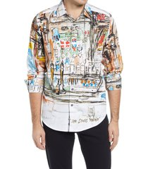 men's robert graham x leroy neiman dublin bar regular fit stretch print button-up shirt, size x-large - blue