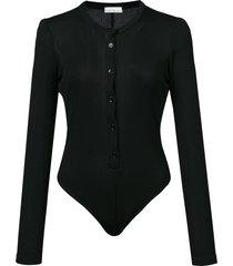 fleur du mal henley bodysuit - black