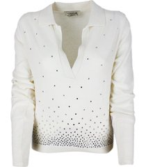 anna molinari light long-sleeved polo shirt in wool blend with collar with bright rhinestone applications