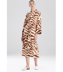 ethereal tiger satin long sleep & lounge bath wrap robe, women's, size 1x, n natori