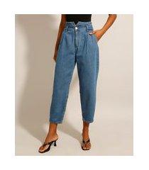 calça baggy jeans cintura super alta azul médio