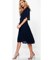 chiffon angel sleeve midi skater bridesmaid dress, navy