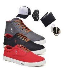 kit 3 pares sapatênis polo blu casual cano alto e cano baixo cinza/preto/vermelho acompanha carteira + relógio + cinto + meia + boné