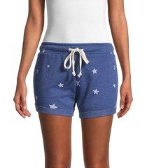 alternative women's star-print fleece shorts - navy - size l