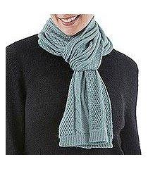 100% alpaca scarf, 'celadon braid' (peru)