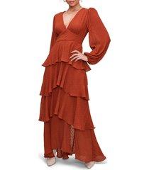 women's astr the label romance me long sleeve maxi dress, size large - orange