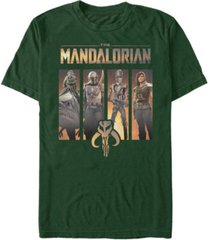 men's star wars the mandalorian character portrait panels short sleeve t-shirt