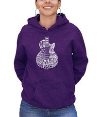 women's word art rock guitar head hooded sweatshirt