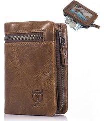 bullcaptain uomo vintage portafoglio in pelle vera con 11 card slots portamonete
