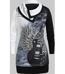 plus size color block guitar print sweatshirt