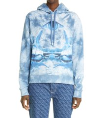 women's burberry poulter logo eye graphic hoodie, size small - blue