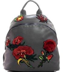 mochila flores piel gris mailea